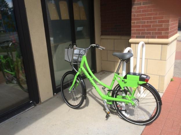 Bikeshare bike at PT's Cafe
