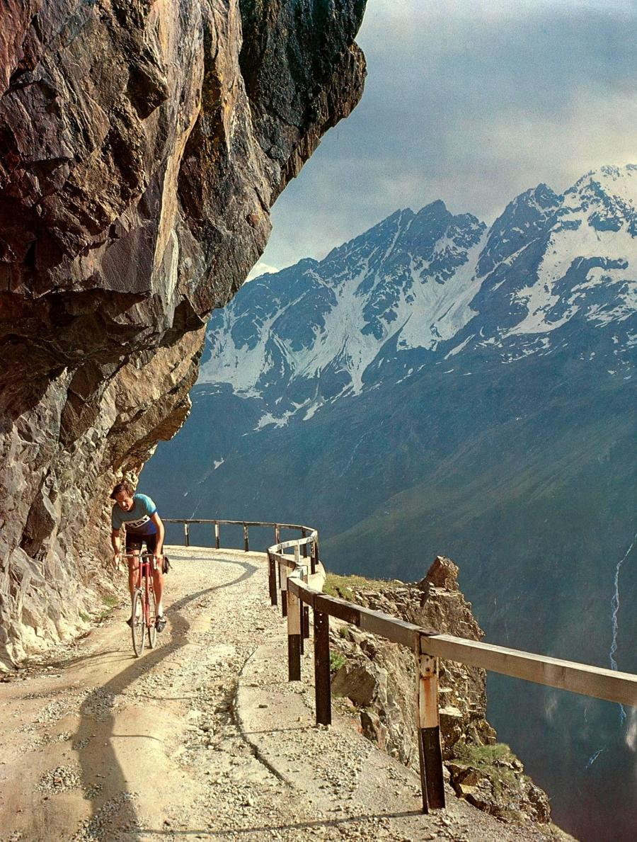 Jobst Brandt riding up Gavia Pass, Italy. Made into a poster.